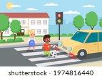 violation road rules. kids... | Shutterstock .eps vector #1974816440