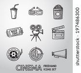 cinema  movie  freehand icons... | Shutterstock .eps vector #197486300