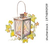 old retro lantern with grape... | Shutterstock . vector #1974890939