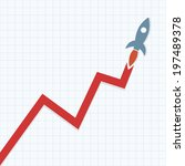 profit graph with space rocket | Shutterstock .eps vector #197489378
