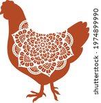 chicken mandala symbol  vector... | Shutterstock .eps vector #1974899990