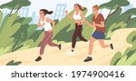 young people jogging in city... | Shutterstock .eps vector #1974900416