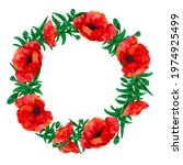 Wreath Of Leaves And Poppies
