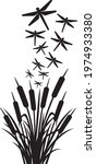dragonfly and reeds vector... | Shutterstock .eps vector #1974933380