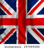 great britain flag of silk  ...   Shutterstock . vector #197495450
