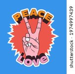 peace love vintage comic styled ...   Shutterstock .eps vector #1974997439