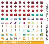 100 universal icons set.... | Shutterstock .eps vector #1974999560
