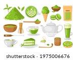 matcha tea. vector set of...   Shutterstock .eps vector #1975006676