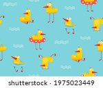 funny yellow duck swimming with ... | Shutterstock .eps vector #1975023449