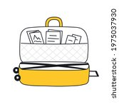 luggage  open travel suitcase...   Shutterstock .eps vector #1975037930