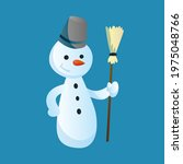 Snowman Holds A Broom In His...