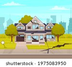 house destroyed by earthquake.... | Shutterstock .eps vector #1975083950