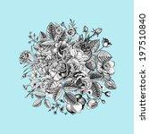 vintage floral vector bouquet... | Shutterstock .eps vector #197510840