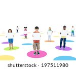 group of people holding board | Shutterstock . vector #197511980