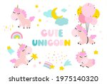 a set of cute unicorns with the ... | Shutterstock .eps vector #1975140320