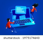 people fly around big laptop.... | Shutterstock .eps vector #1975174643
