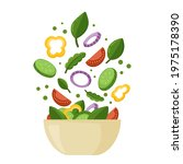 salad bowl with fresh tasty...   Shutterstock .eps vector #1975178390