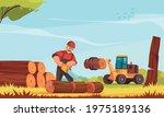 lumberjack at work sawing tree... | Shutterstock .eps vector #1975189136