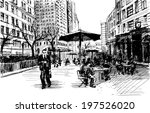 black ink drawing of city... | Shutterstock .eps vector #197526020