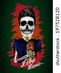 skull vector design.live music...   Shutterstock .eps vector #197528120