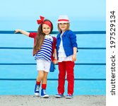 fashion kids resting on the sea ... | Shutterstock . vector #197529134