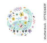 dinosaur with flowers and...   Shutterstock .eps vector #1975326839