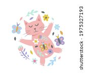 cat with flowers and...   Shutterstock .eps vector #1975327193