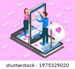 online dating isometric concept.... | Shutterstock .eps vector #1975329020