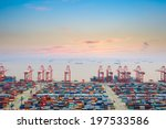 Container Wharf At Dusk In...