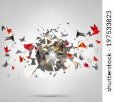 origami paper bird on abstract... | Shutterstock . vector #197533823