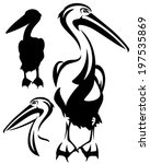 Pelican Bird Black And White...