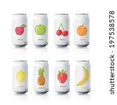 grey tin of fruit juice. vector ... | Shutterstock .eps vector #197538578