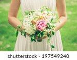 beautiful bride outdoors... | Shutterstock . vector #197549240