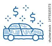 car dollar mark sketch icon...