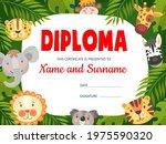 Kids Diploma With Cute Cartoon...