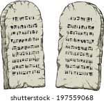 two cartoon stone tablets... | Shutterstock .eps vector #197559068