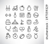 fitness icons   Shutterstock .eps vector #197559329