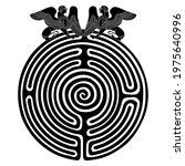 round spiral maze or labyrinth... | Shutterstock .eps vector #1975640996