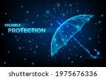 umbrella in low poly wireframe...   Shutterstock .eps vector #1975676336
