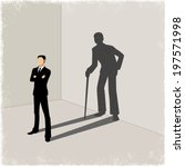 Young man casting shadow of old man in vector - stock vector