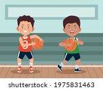 little boys playing basketball...   Shutterstock .eps vector #1975831463