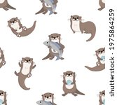 cute otter  shellfish and fish... | Shutterstock .eps vector #1975864259