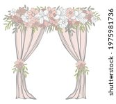 wedding arch with pink flowers .... | Shutterstock .eps vector #1975981736