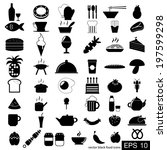 vector black food icons | Shutterstock .eps vector #197599298