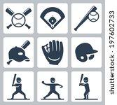 baseball related vector icons... | Shutterstock .eps vector #197602733