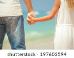 father and daughter standing on ... | Shutterstock . vector #197603594