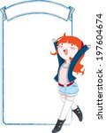 young girl with banner | Shutterstock .eps vector #197604674