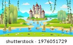 fantasy castle with towers on...   Shutterstock .eps vector #1976051729