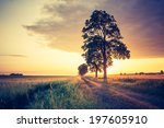 vintage photo of sunrise over... | Shutterstock . vector #197605910
