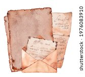 old retro letters and envelopes.... | Shutterstock . vector #1976083910